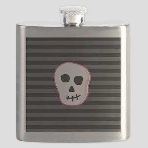 Pink Skeleton Face Stripes Flask