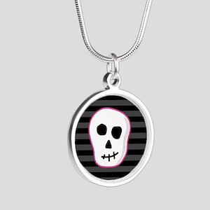 Pink Skeleton Face Stripes Silver Round Necklace