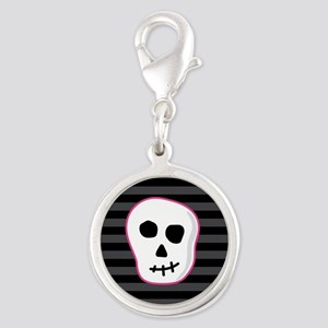 Pink Skeleton Face Stripes Silver Round Charm
