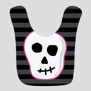 Pink Skeleton Face Stripes Polyester Baby Bib