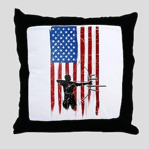 USA Flag Team Archery Throw Pillow