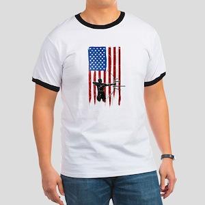 USA Flag Team Archery Ringer T-Shirt