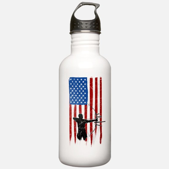 USA Flag Team Archery Water Bottle