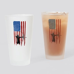 USA Flag Team Archery Drinking Glass