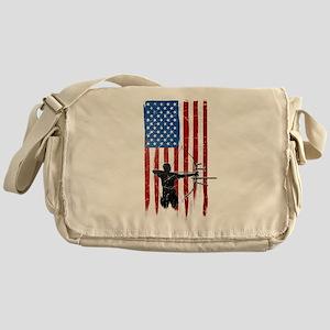 USA Flag Team Archery Canvas Messenger Bag