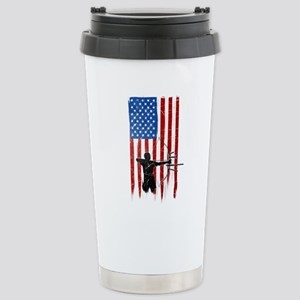USA Flag Team Archery Ceramic Travel Mug