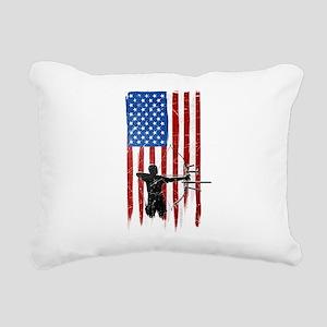 USA Flag Team Archery Rectangular Canvas Pillow