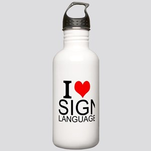 I Love Sign Language Water Bottle