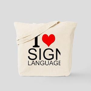 I Love Sign Language Tote Bag