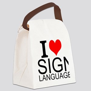I Love Sign Language Canvas Lunch Bag
