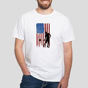 USA Flag Team Badminton White T-Shirt