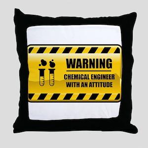 Warning Chemical Engineer Throw Pillow
