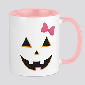 Pumpkin Face Pink Bow Mug