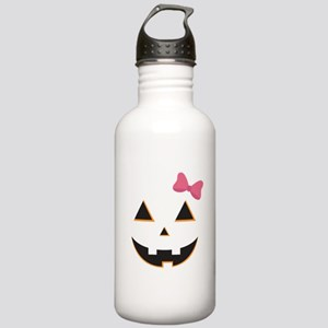 Pumpkin Face Pink Bow Stainless Water Bottle 1.0L