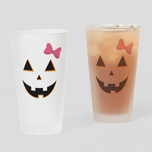 Pumpkin Face Pink Bow Drinking Glass