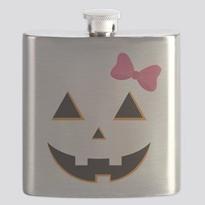Pumpkin Face Pink Bow Flask