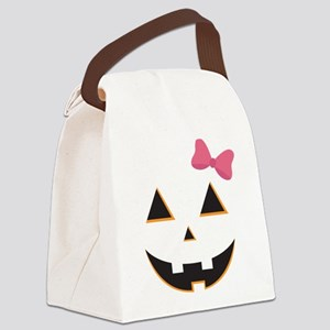 Pumpkin Face Pink Bow Canvas Lunch Bag