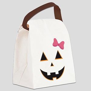 Pumpkin Face Pink Bow Canvas Lunch Bag