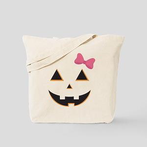 Pumpkin Face Pink Bow Tote Bag
