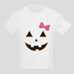 Pumpkin Face Pink Bow Kids Light T-Shirt