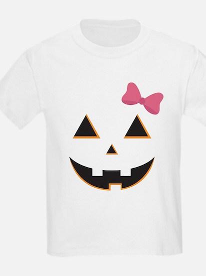 Pumpkin Face Pink Bow T-Shirt