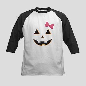 Pumpkin Face Pink Bow Kids Baseball Jersey