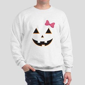 Pumpkin Face Pink Bow Sweatshirt