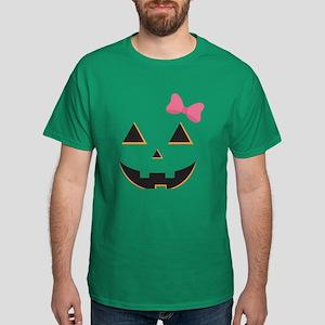Pumpkin Face Pink Bow Dark T-Shirt