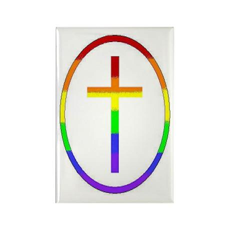 Rainbow Cross #1 Rectangle Magnet (100 pack)