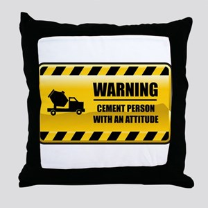 Warning Cement Person Throw Pillow