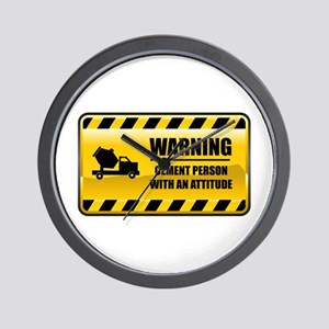 Warning Cement Person Wall Clock