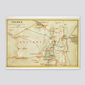 Vintage Map of Thebes Egypt (1894) 5'x7'Area Rug