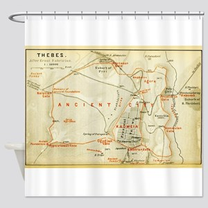 Vintage Map of Thebes Egypt (1894) Shower Curtain
