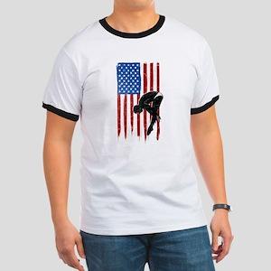 USA Flag Team Diving Ringer T-Shirt