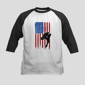 USA Flag Team Diving Kids Baseball Jersey