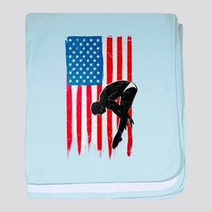 USA Flag Team Diving Infant Blanket