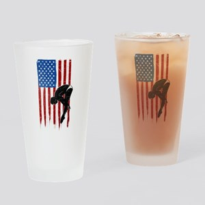 USA Flag Team Diving Drinking Glass