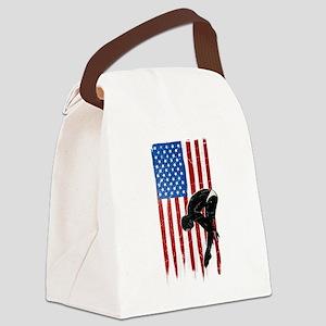 USA Flag Team Diving Canvas Lunch Bag