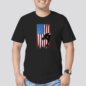 USA Flag Team Diving Men's Dark Fitted T-Shirt