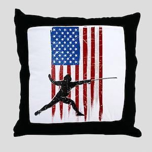 USA Flag Team Fencing Throw Pillow