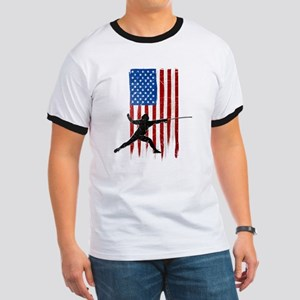 USA Flag Team Fencing Ringer T-Shirt