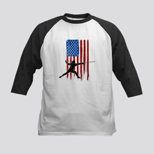 USA Flag Team Fencing Kids Baseball Jersey