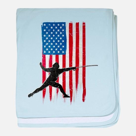 USA Flag Team Fencing Infant Blanket