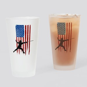 USA Flag Team Fencing Drinking Glass