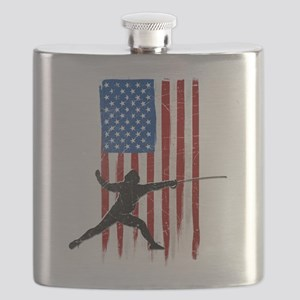 USA Flag Team Fencing Flask