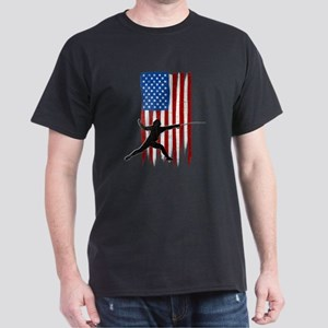 USA Flag Team Fencing Dark T-Shirt