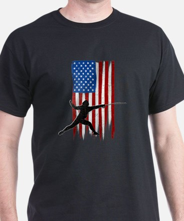 USA Flag Team Fencing T-Shirt