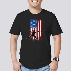 USA Flag Team Fencing Men's Dark Fitted T-Shirt