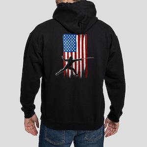 USA Flag Team Fencing Dark Hoodie