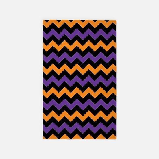 Purple, Black, and Orange Chevron Pattern Area Rug